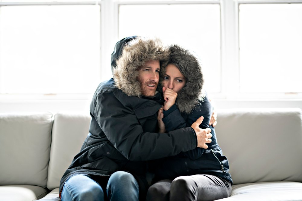 cold couple on a couch